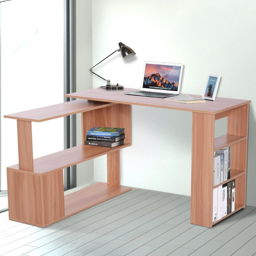 【USA Warehouse】Modern L Shaped Rotating Computer Desk With Bookshelves - Maple
