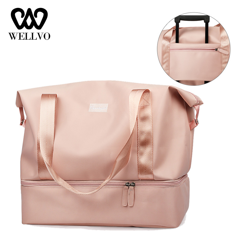 Women Luggage Travel Duffle Bag Glitter Waterproof Nylon Girls Organizer Bags Large Travelling Crossbody Shoulder Tote XA868WB