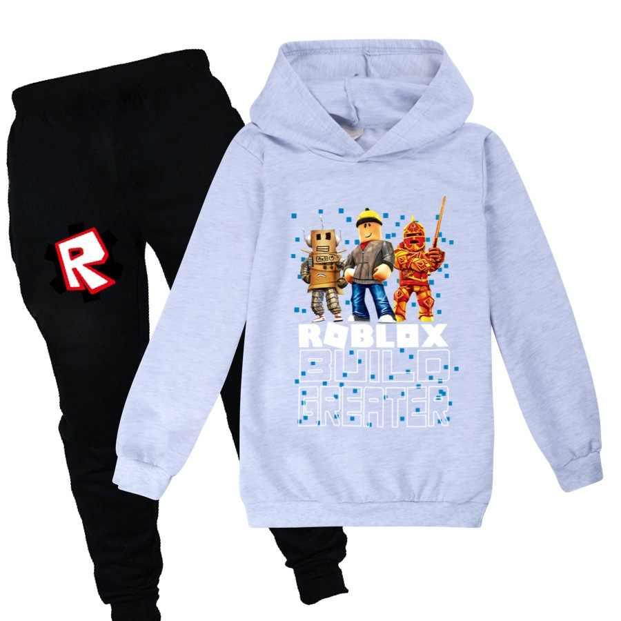 Girl Boys Spring Autumn Roblox Cartoon Sports Suit 2pcs Set