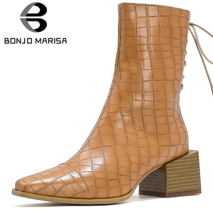 BONJOMARISA Fashion Autumn High Top Ankle Cool Brand Fretwork Chelsea Boots Women Med Strange Heels Shoes Woman