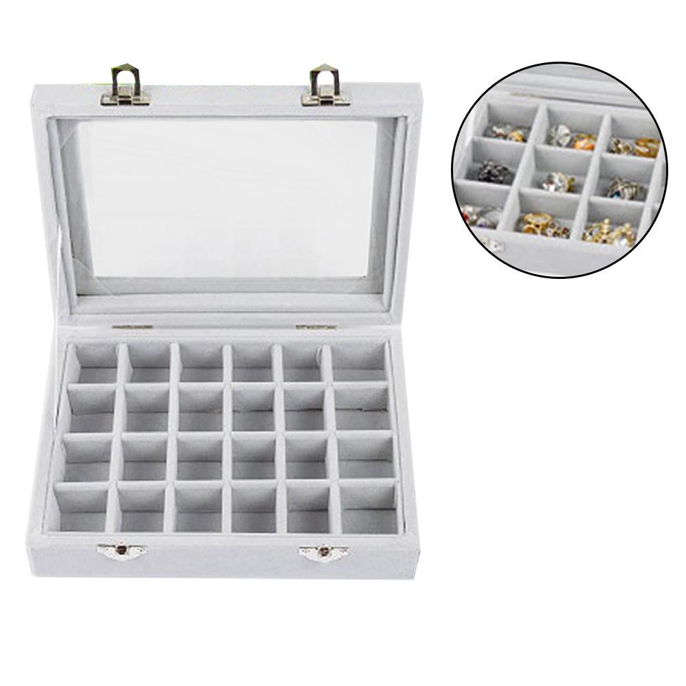 24 Grids Velvet Ear Stud Earrings Ring Display Tray Storage Container Organizer Velvet Storage Box Large Capacity Elegant Style