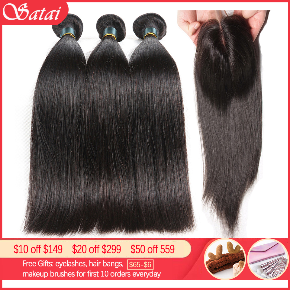 Satai Straight Hair Bundles With Closure Brazilian Hair Weave Bundles 8-40 Inch Human Hair Bundles With Closure Hair Extension