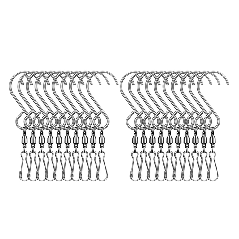 20Pcs Swivel Clip Hanging Hooks Stainless Steel For Hanging Wind Spinners Wind Chimes Crystal Twisters Party Supply