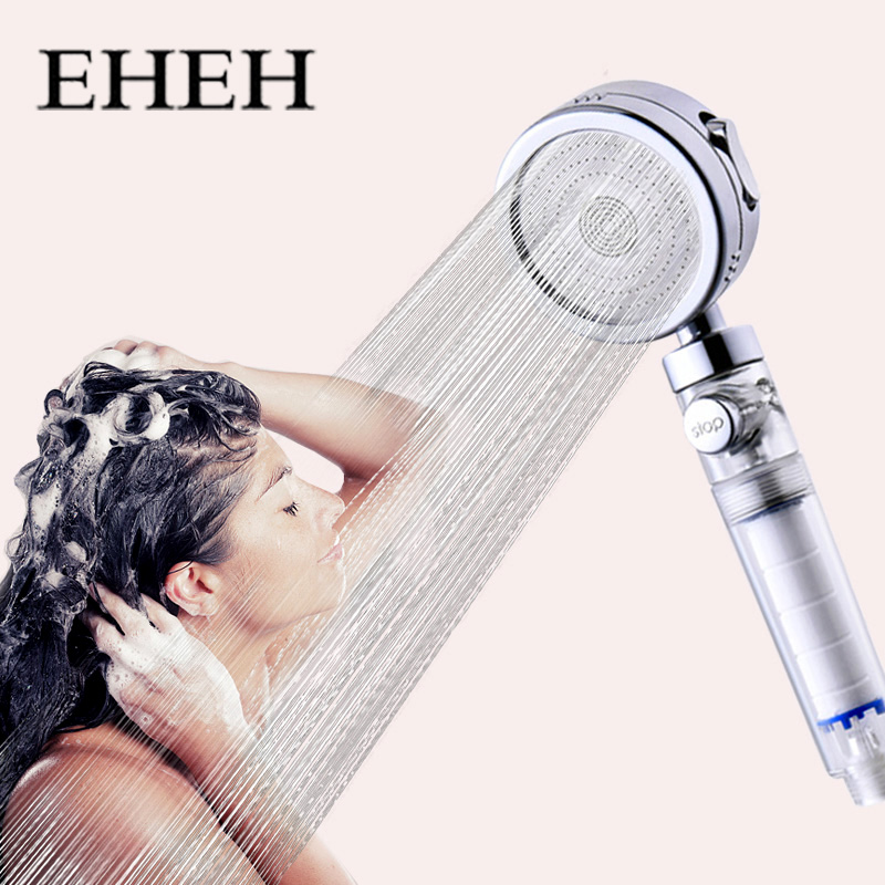 EHEH 3-Function High Pressure Shower Head with Stop Switch Bathroom Multifunction Showerhead Electroplated Water Saving Sprayer