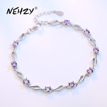 NEHZY 925 sterling silver jewelry bracelet high quality retro fashion woman purple crystal four prong DIY bracelet length 20.5CM