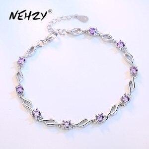 NEHZY 925 sterling silver jewelry bracelet high quality retro fashion woman purple crystal four prong DIY bracelet length 20.5CM