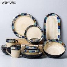 1 Uds placa de cerámica a cuadros geométricos antiguos de la vendimia carne occidental ensalada postre sushi Almacenamiento de cocina hogareña Plato decorativo