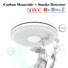 Home Security 2 in 1 Carbon Monoxide Poisoning Warning Alarm Detector WIFI Tuya Independent CO Gas Smoke Alarm Sensor 85dB 100db