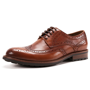 2020 Free Shipping Men's Original Handmade Genuine Leather Full Brogue Shoes Wing Tip Medallion Round Toe Lace Up BL268-9