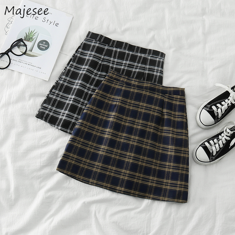 Skirts Womens Plaid Student Classic Females Mini Skirt Harajuku High Waist Korean Style Vintage Daily Leisure Cute Kawaii Trendy