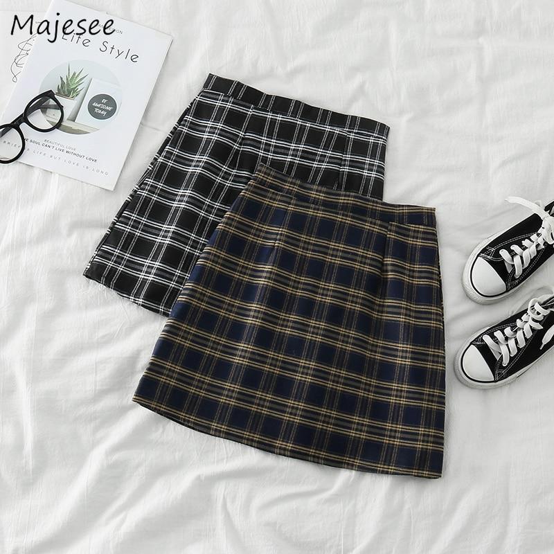 Skirts Womens Plaid Student Classic Females Mini Skirt Harajuku High Waist Korean Style Vintage Daily Leisure Cute Kawaii Trendy