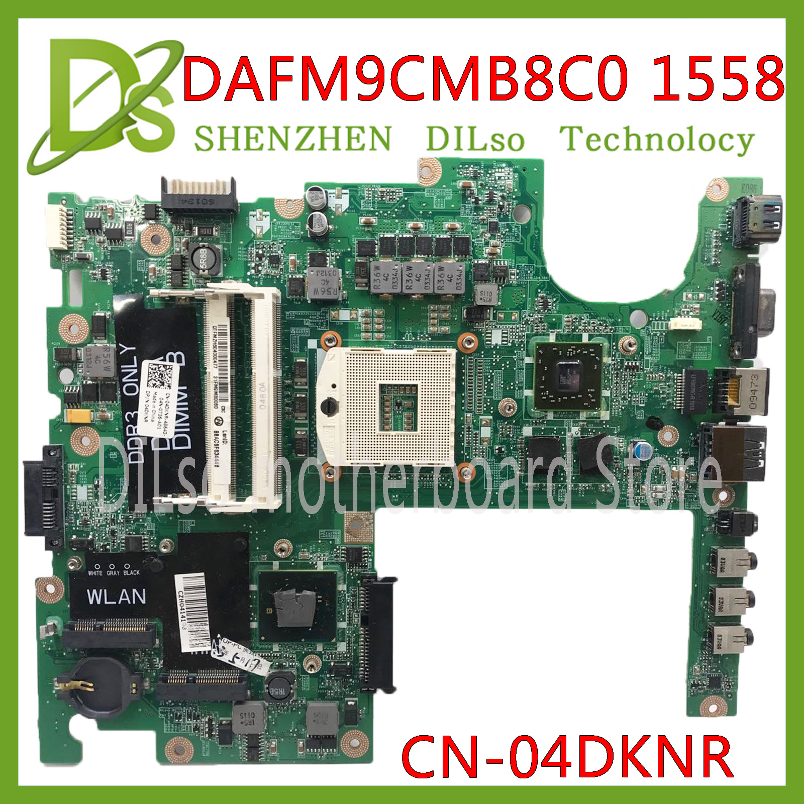 KEFU DAFM9CMB8C0 Motherboard FOR Dell Studio 1558 Laptop Motherboard CN-04DKNR HM55 PGA989 DDR3 HD5470 1GB Original 100% Tested