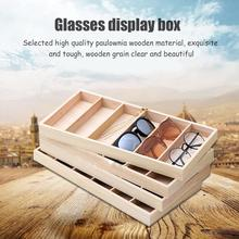 6-Slot Modern Sunglasses Display Storage Box Holder Eye Glasses Wooden Case Organizer Eyewear Collector
