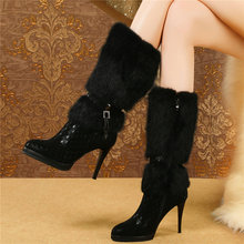 Women Genuine Leather Slim High Heel Mid Calf Boots High Top Rabbit Fur Platform Long Pumps Shoes Round Toe Winter Snow Boots meotina genuine leather mid calf boots winter snow boots women real fur warm boots chain platform wedges high heel shoes black