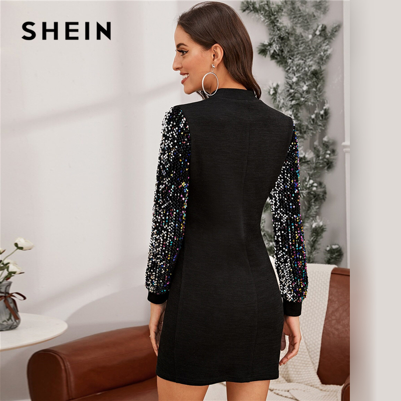 SHEIN Black Mock-neck Sequin Sleeve Bodycon Dress Women Spring Glamorous Stand Collar Slim Fit Pencil Short Dresses 2