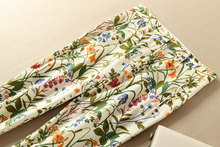 Calças femininas algodão cetim floral impressão calças pés magro calças