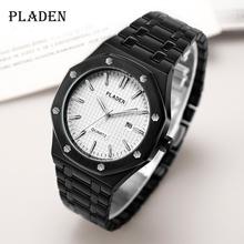 PLADEN czarny i biały Top męskie zegarki klasyczny królewski luksusowy zegarek automatyczny AAA + Dropshipping 2020 najlepiej sprzedające się produkty tanie tanio 19cm Moda casual QUARTZ 3Bar Przycisk ukryte zapięcie CN (pochodzenie) STAINLESS STEEL 10mm Hardlex Kwarcowe Zegarki Na Rękę