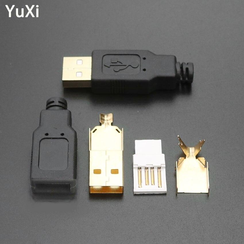 YuXi 4 Uds tipo A macho USB conector de enchufe de 4 pines DIY Cable de soldadura tipo USB Kits de enchufe de carga bañado en Oro conjunto de cuatro piezas