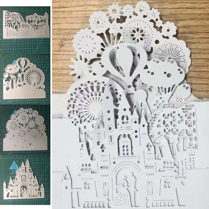 Amusement Park Castle Metal Cutting Dies For Scrapbooking And Card Making Paper Craft 2019 New Embossing Die Cuts