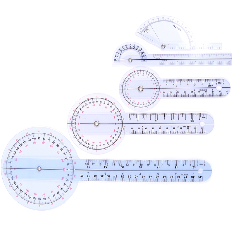 New 1Pcs Medical Spinal Angle Protractor Ruler Finger Goniometer 12/8/6 Inch Ruler