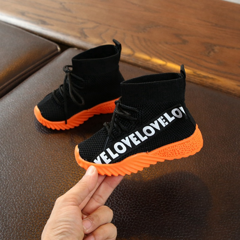 Infant Sneakers Baby Boys Girls Shoes Breathable Anti-Slip Baby Letter Print Shoes Toddler Soft Soled First Walkers