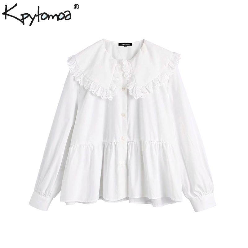 Vintage Sweet Ruffles Peter Pan Collar Tops Women Blouses 2020 Fashion Long Sleeve Solid Stylish Shirts Blusas Mujer
