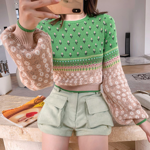 Image 2 - Women Jacquard Knit Cropped Sweater 2019 Autumn Latern Sleeve Lurex Color Block Pullover Fresh Crop Jumper Sueter Mujer Invierno