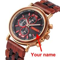 BOBO BIRD Personalized Wood Watch Men Luxury Chronograph Customize Watches Anniversary Christmas Gift for Him Dropshipping OEM
