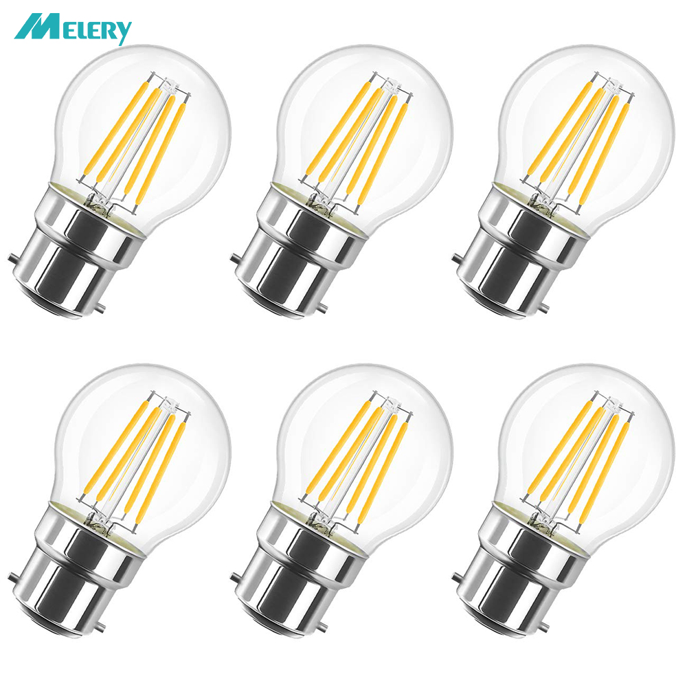Светодиодсветильник лампа накаливания B22 4 Вт, лампа накаливания с байонетным разъемом G45 2700K, замена теплого белого света 40 Вт, деревенская ч...