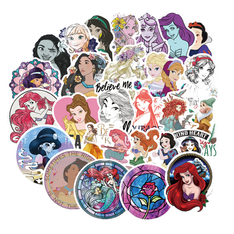 100 Pcs Disney Princess Stickers Beautiful Waterproof Sticker For Car Luggage Suitcase Decor Toys For Children Computer Notebook
