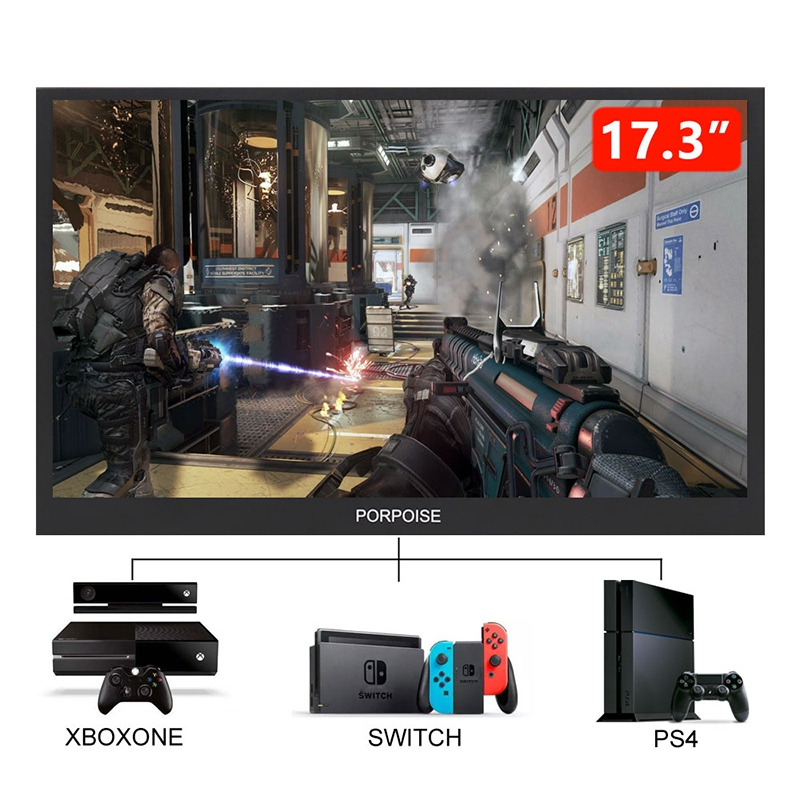 PORPOISE 17.3 Inch USB-C Portable 1080P IPS LED Monitor for PS3 PS4 360 Nintend Switch Raspberry Pi Huawei 5