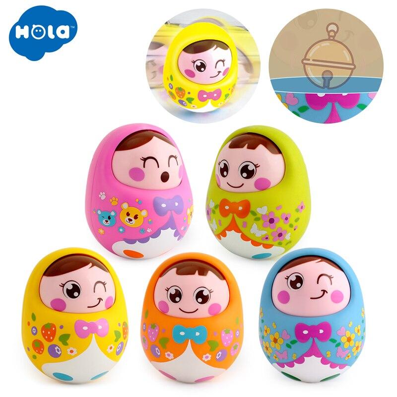 HOLA 979 Baby Toys Rattles Nodding Matlyoshka Tumbler Doll Sweet Bell Music Roly-poly Learning Educational Toys Xmas Gifts