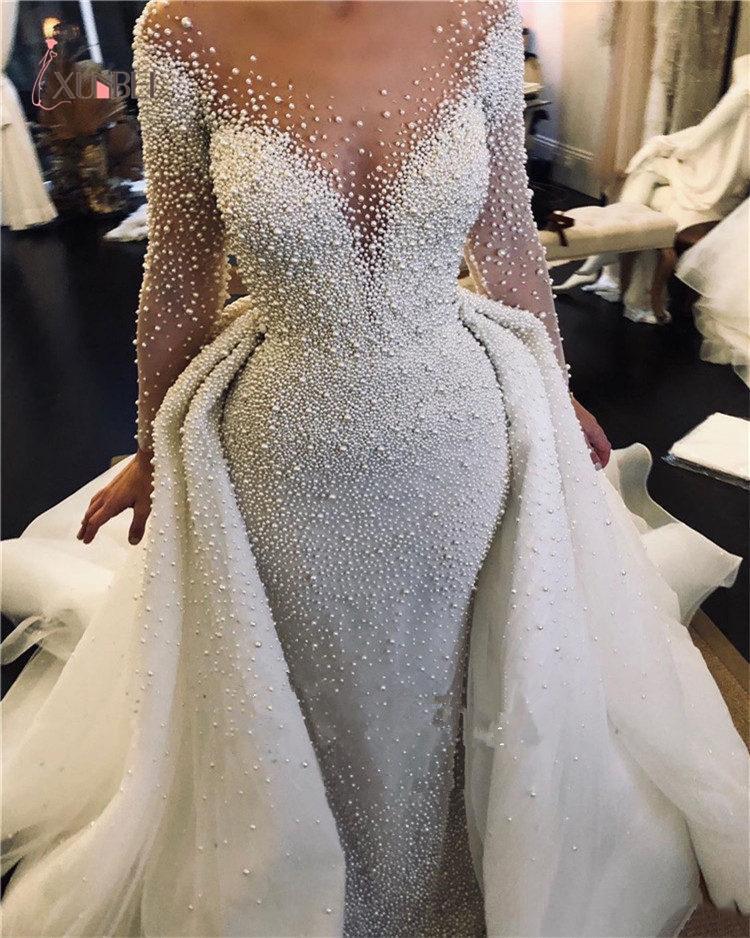 2020 Luxury Mermaid Wedding Dresses With Detachable Train Full Pearl Beaded Long Sleeves Saudi Arabic Plus Size Bridal Gown