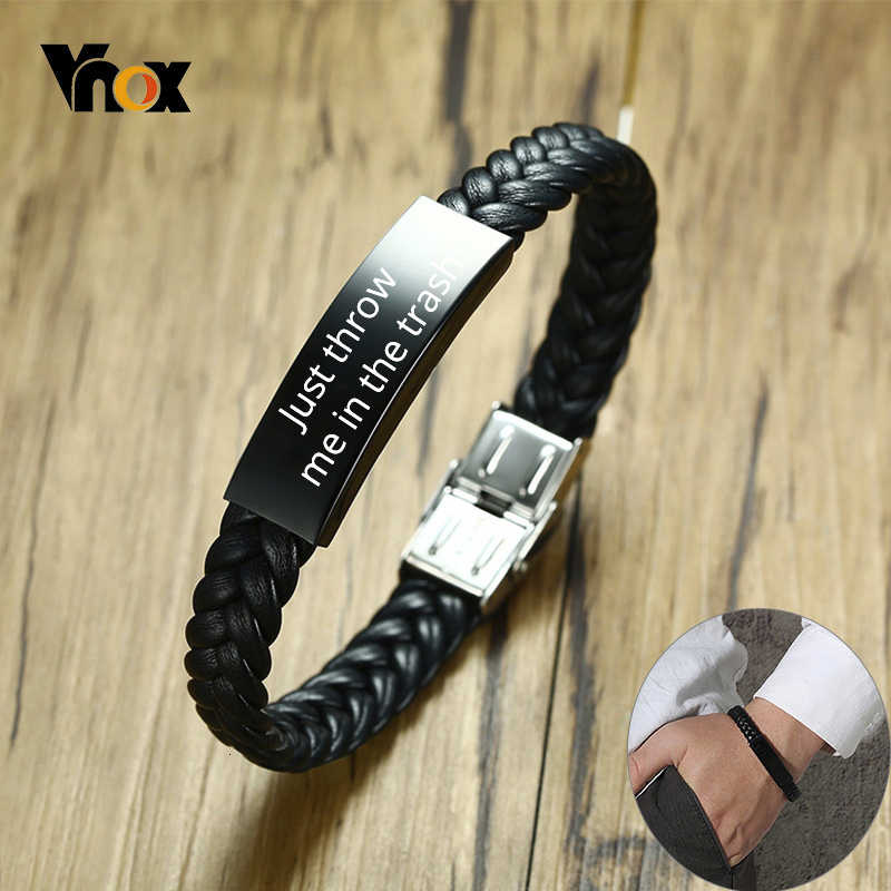 Vnox Personalize Braided Leather Bracelet for Men Just throw me in the trash Black Stainless Steel ID Bar Custom Name Date