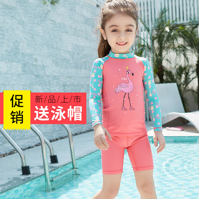 KID'S Swimwear Baby Girls Sun-resistant Tour Bathing Suit Girls Split Type Long Sleeve GIRL'S Children Swimwear Quick-Dry Diving