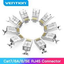 Vention RJ45 connecteur Cat7 RJ45 modulaire Ethernet câble tête prise plaqué or Cat6 sertissage réseau RJ45 connecteur à sertir Cat7
