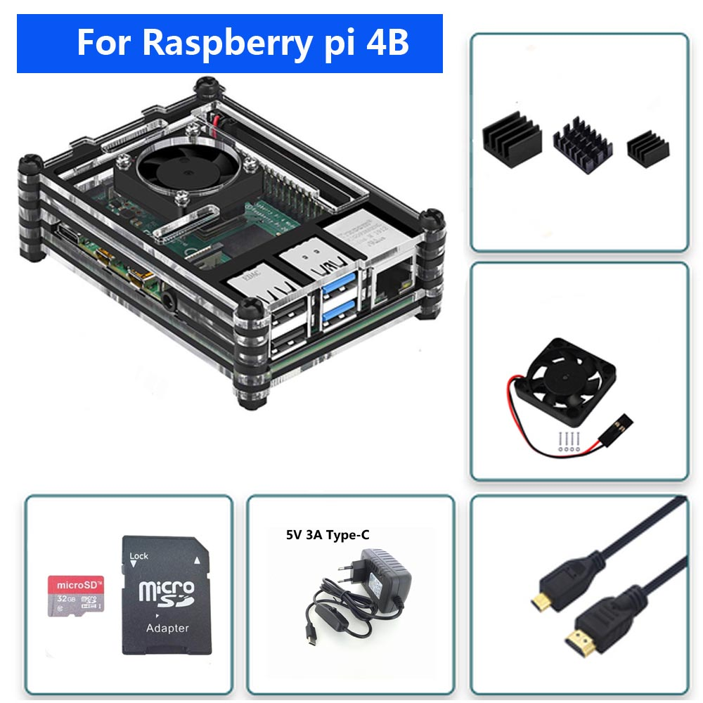 Raspberry PI 4 Model B Acrylic Case  With Cooling Fan +32GB SD Card+5V 3A Power+Heatsink+HDMI For Raspberry Pi 4B