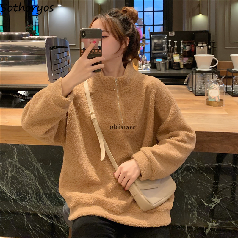Women Hoodies Lamb Wool Chic Loose Autumn Winter Warm Loose Students BF Ins Oversize Korean New All-match Letter Printed Casual