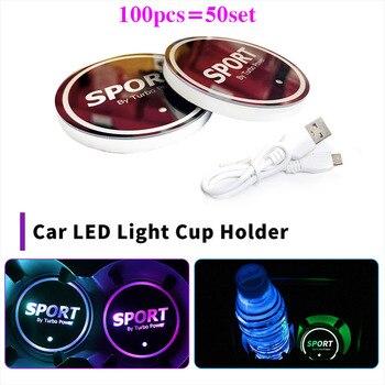 100pcs  Car Accessory 68mm Car Water Cup Coaster Mat 7 Colors USB LED Lights luminous Decoration Lamp Cup Holder Non-slip Pad
