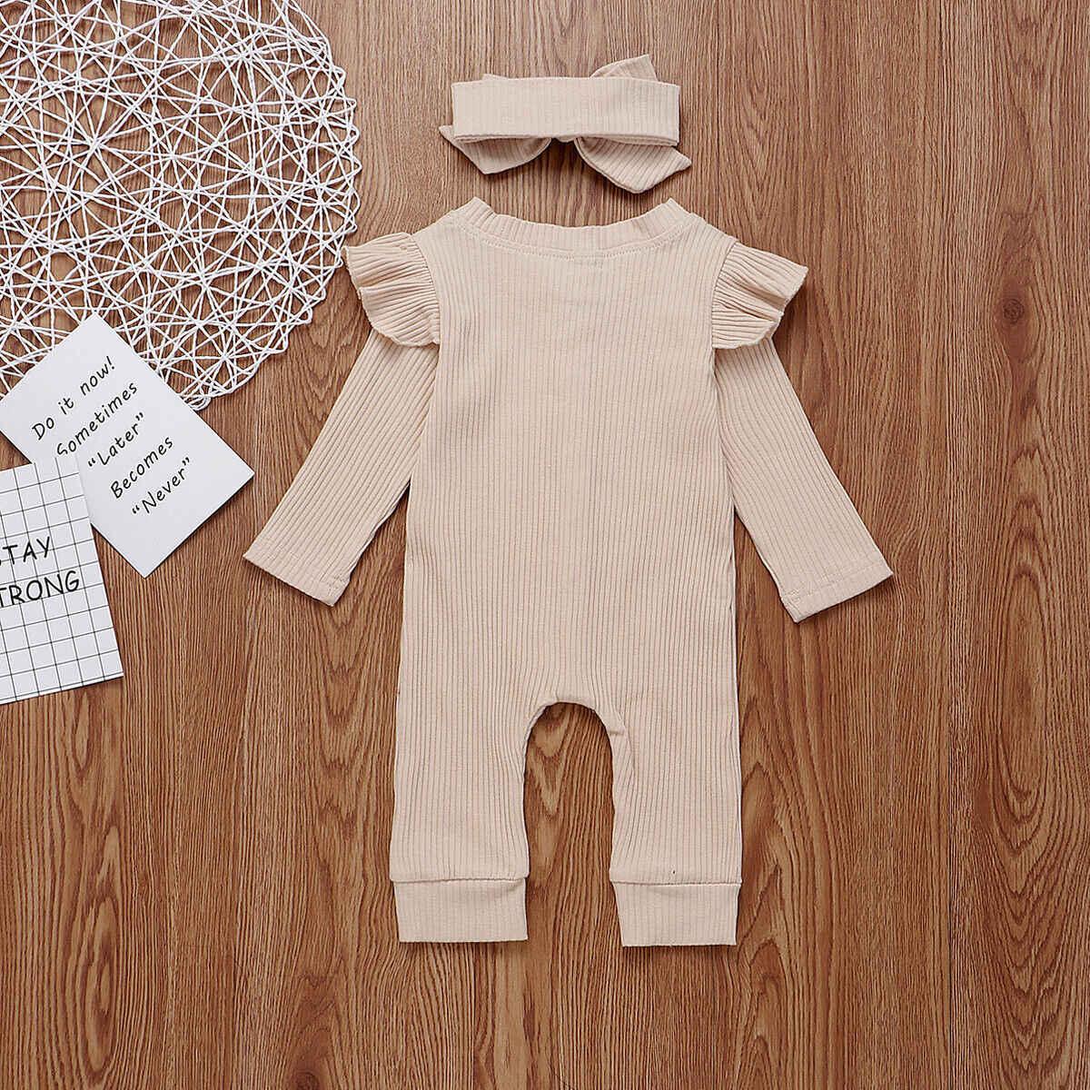 Mono ropa de invierno para bebé recién nacido de manga larga con volantes mameluco de algodón de moda para niñas + diadema conjunto de 2 piezas
