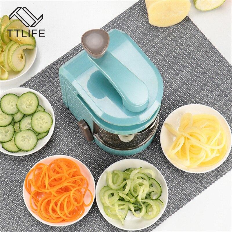 TTLIFE New Manual Vegetable Slicer Fruit Cutter Multifunctional Spiral Potato Carrot Cucumber Grater Salad Kitchen tool utensils