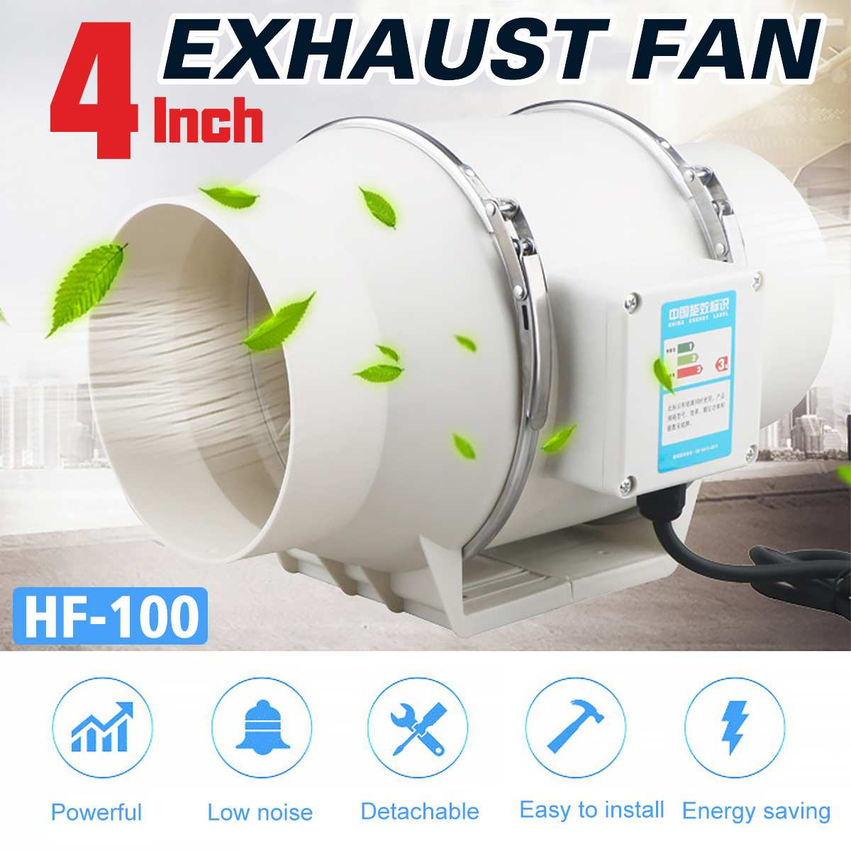 4 Inch 220V Low Noise Inline Duct Hydroponic Air Blower Fan  Exhaust Fan For Home Bathroom Ventilation Vent And Grow Room 4 Inch