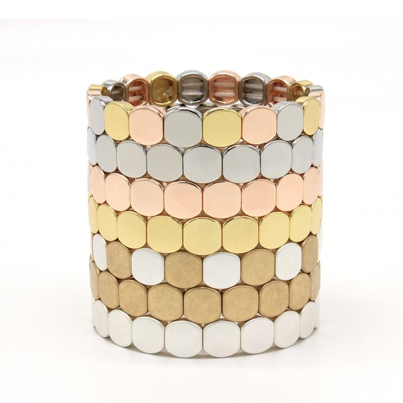 Handmade Stretch Elastic beaded Bracelets/Bangles Metal Enamel Tile Bracelets/Bangles Cuff Jewelry For Women/Men Gift(China)