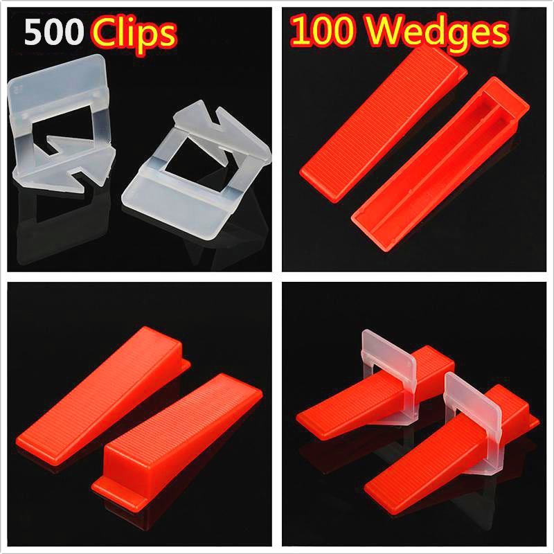 600pcs Plastic Ceramic Tile Leveling System 500 Clips+100 Wedges Tiling Flooring Tools Wedges Clips 1mm