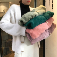 Mohair Cardigan Women 2019 Autumn Elegant V-neck Sweater Coat Korean Modis Casual Cardigans Sueter Mujer