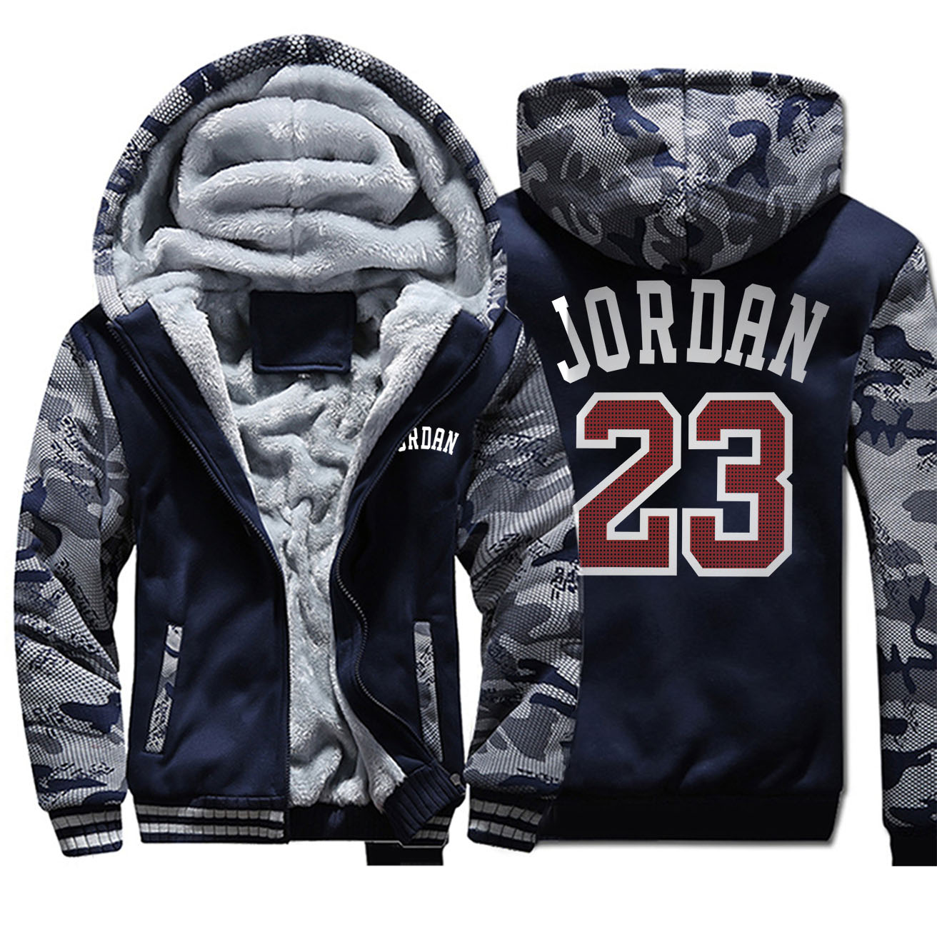 Jordan 23 Print Zipper Hoodie Men 2020 Winter Warm Fleece Hooded Sweatshirts Plus Size Fashion Brand Jackets Mens Thick Camo