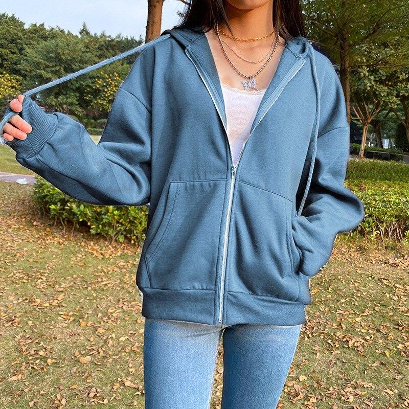 Summer 2021 Fashion Zip Up Cute Bear Sweetshirt Vintage Long Sleeve Spring Clothes Women Hoodies Coat Loose Harajuku Tops 18