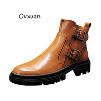 OVXUAN Vintage High Top Chelsea Boots Men Double Buckle Monk Strap Casual Leather Ankle Shoes Men Sneakers Cowboy Harness Boots