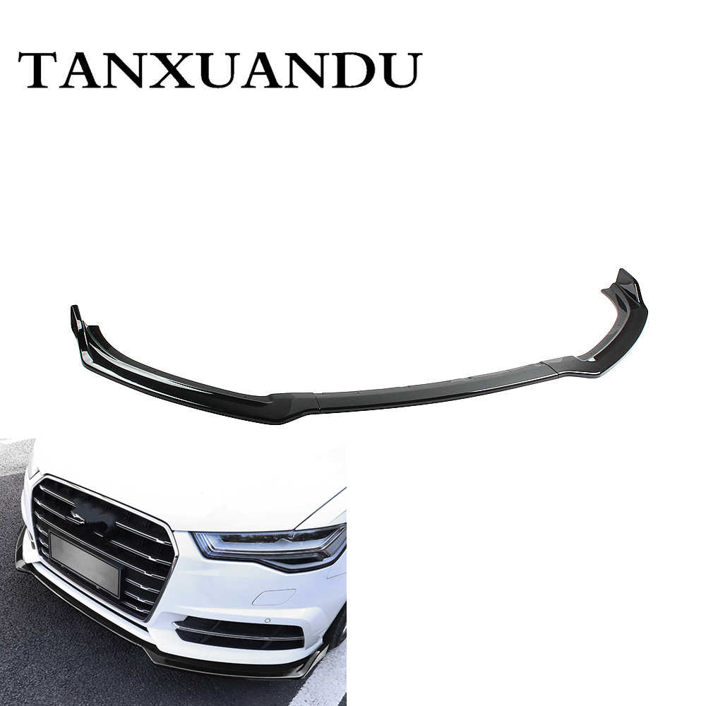 1026 Painted Gloss Black 3-Stage Front Bumper Lip Spoiler Underbody Wing Sport Style Fit For AUDI S6 A6-Sline C7.5 2016-2018