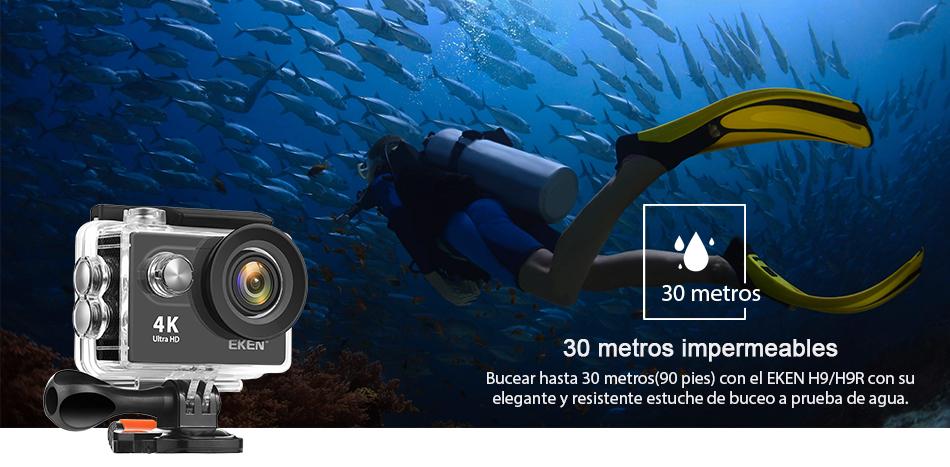 """EKEN H9R/H9 Ultra HD 4 K/30fps WiFi 2,0 """"170D impermeable bajo el agua 10"""